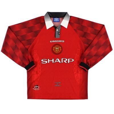 1996-98 Manchester United Umbro Home Shirt L/S *Mint* L
