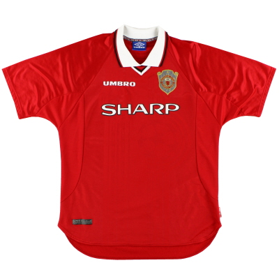 1997-00 Manchester United Umbro Champions League Home Shirt L