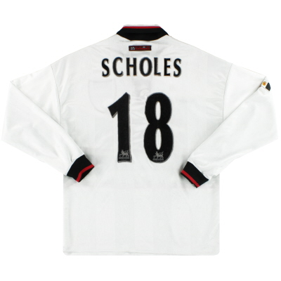 1997-99 Manchester United Umbro Away Shirt Scholes #18 L/S M