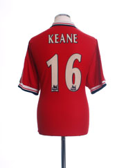 1998-00 Manchester United Home Shirt Keane #16 L