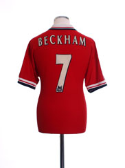 1998-00 Manchester United Home Shirt Beckham #7 Y