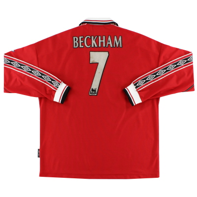 1998-00 Manchester United Home Shirt Beckham #7 L/S XL