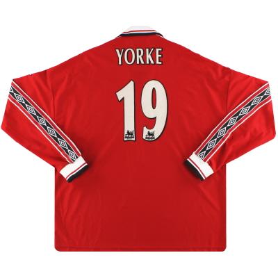 1998-00 Manchester United Umbro Home Shirt Yorke #19 L/S XXL