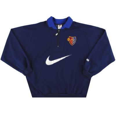 1998-99 FC Basel Nike 1/4 Zip Sweatshirt L