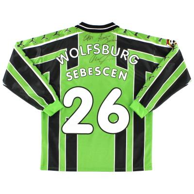 1998-99 Wolfsburg Match Issue Signed Shirt Sebescen #26
