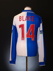 1999-00 Blackburn Match Issue Signed Home Shirt Blake #14 L/S XL