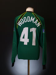 1999-00 Peterborough Match Issue Goalkeeper Shirt Woodman #41 L/S XL