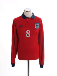 1999-01 England Player Issue Away Shirt #8 L/S XL