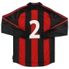 2000-02 AC Milan adidas Player Issue Home Shirt #2 L/S L