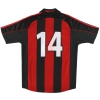 2000-02 AC Milan adidas Player Issue Home Shirt #14 M