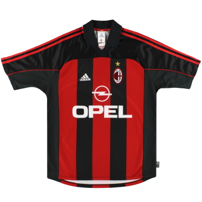 2000-02 AC Milan adidas Player Issue Home Shirt #10 M