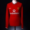 2000-02 Manchester United Home Shirt Beckham #7 L/S XL