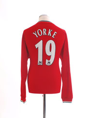 2000-02 Manchester United Umbro Home Shirt Yorke #19 L/S L