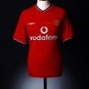 2000-02 Manchester United Home Shirt Keane #16 XL