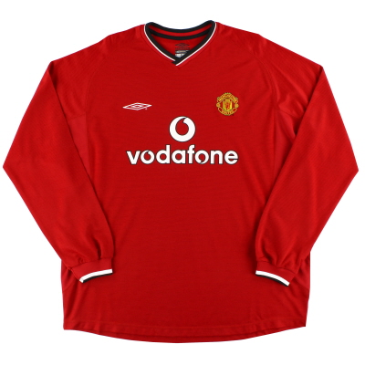2000-02 Manchester United Umbro Home Shirt L/S *As New* XXL