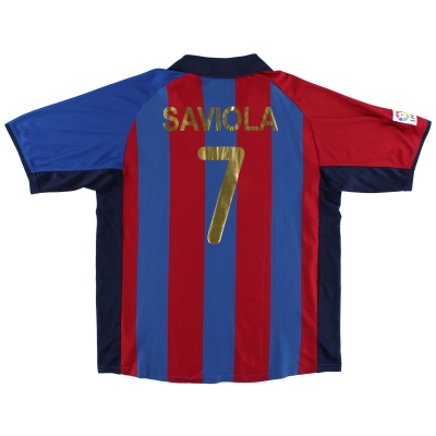 2001-02 Barcelona Home Shirt Saviola #7 XL