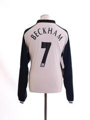 2001-02 Manchester United Centenary Away Shirt Beckham #7 L/S XL