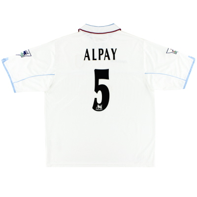 2002-03 Aston Villa Diadora Match Issue Away Shirt Alpay #5 XL