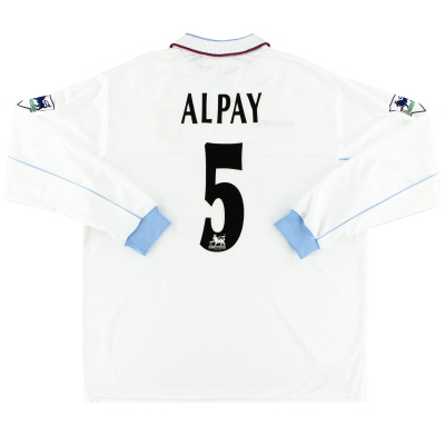 2002-03 Aston Villa Diadora Match Issue Away Shirt Alpay #5 L/S XL