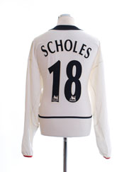2002-03 Manchester United Away Shirt Scholes #18 L/S XL
