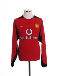 2002-03 Manchester United Home Shirt L/S M.Boys