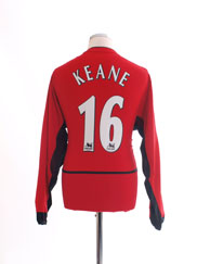 2002-04 Manchester United Home Shirt Keane #16 L/S M