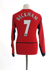 2002-04 Manchester United Home Shirt Beckham #7 L/S *Mint* L