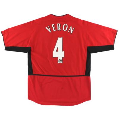 2002-04 Manchester United Nike Home Shirt Veron #4 L