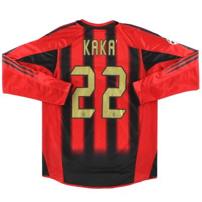 2004-05 AC Milan adidas CL Home Shirt Kaka' #22 L/S M