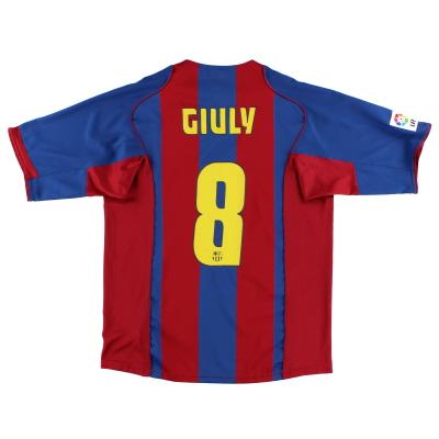 2004-05 Barcelona Home Shirt Giuly #8 L