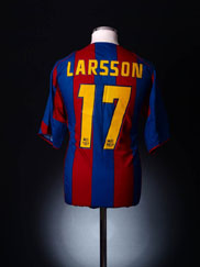 2004-05 Barcelona Home Shirt Larsson #17 XXL