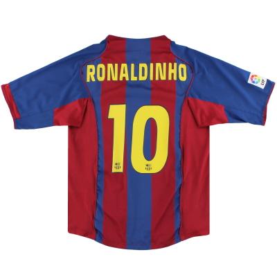 2004-05 Barcelona Nike Home Shirt Ronaldinho #10 L