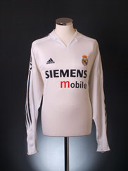 2004-05 Real Madrid Champions League Home Shirt L/S XL