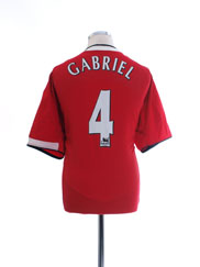 2004-06 Manchester United Home Shirt Gabriel #4 XL