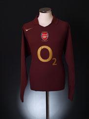 2005-06 Arsenal Highbury Home Shirt L/S XL