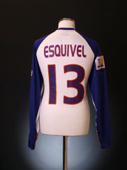 2005 Deportivo Saprissa Match Issue Shirt Esquivel #13 L/S (vs. Liverpool)
