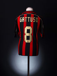 2007-08 AC Milan Serie A Match Issue Home Shirt Gattuso #8