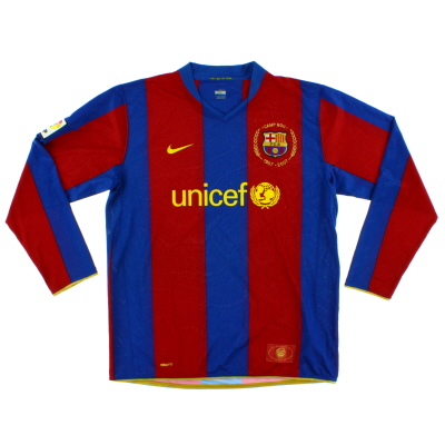 2007-08 Barcelona Home Shirt L/S XL