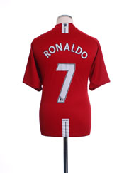 2007-09 Manchester United Home Shirt Ronaldo #7 XL