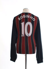 2008-09 Manchester City Away Shirt Robinho #10 L/S XL