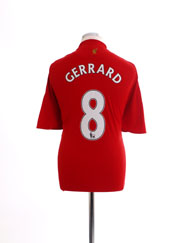 2008-10 Liverpool Home Shirt Gerrard #8 XL