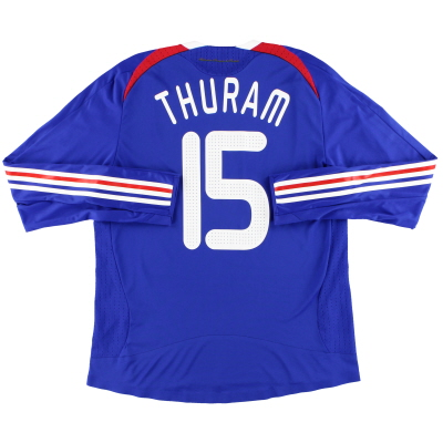 2008 France adidas Match Worn Home Shirt Thuram #15 L/S (v England) L