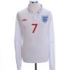 2009-10 England Home Shirt Beckham #7 L/S XXL