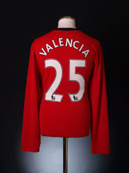 2009-10 Manchester United Player Issue Shirt Valencia #25 L/S XL