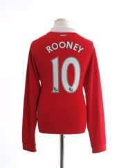 2010-11 Manchester United Home Shirt Rooney #10 L/S M