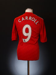 2010-12 Liverpool Home Shirt Carroll #9 M