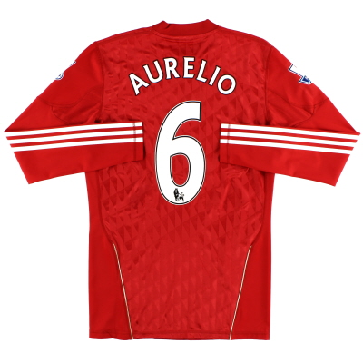 2010-12 Liverpool Match Issue Home Shirt Aurelio #6 L/S L