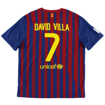 2011-12 Barcelona Home Shirt David Villa #7 XL