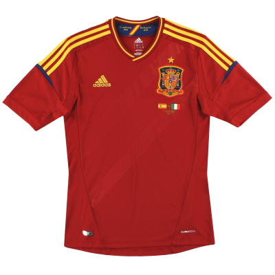 2011-12 Spain adidas Home Special Edition 'Campeones' Signed Shirt S
