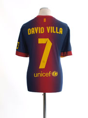 2012-13 Barcelona Home Shirt David Villa #7 L